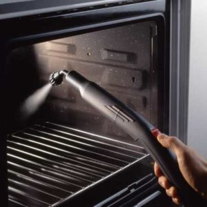 Oven cleaning with a steam cleaner