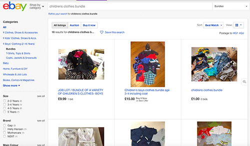 eBay childrens clothes bundles